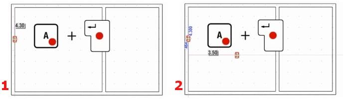 Paramétrage de la distance entre les points de référence avecles touches A et Retour