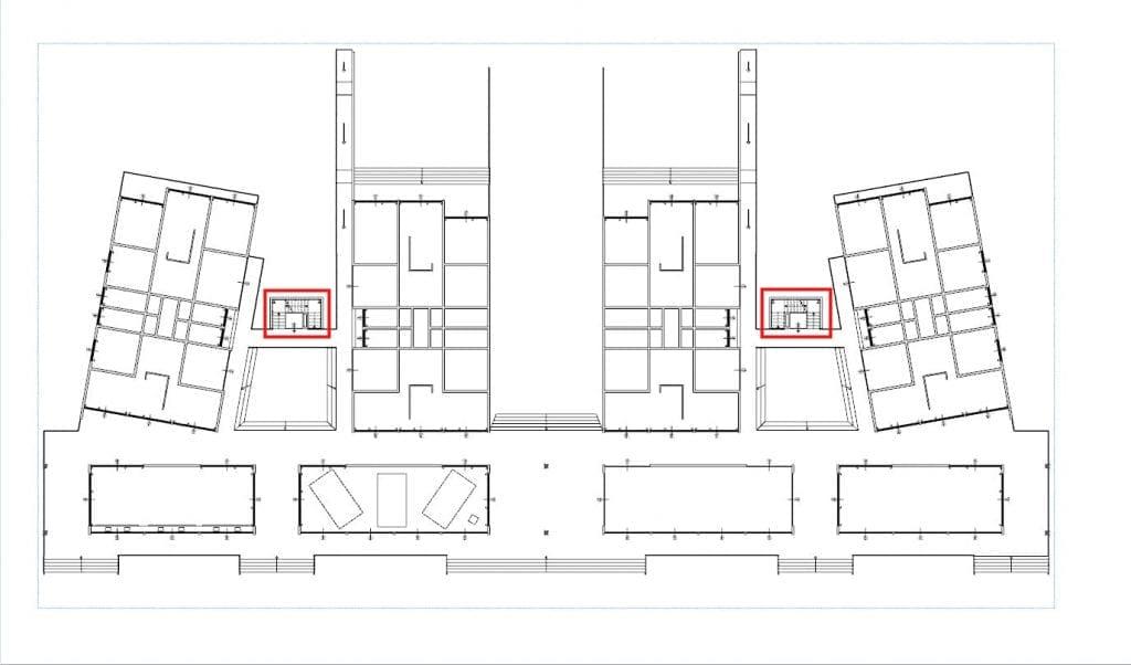 Plan de la structure Nahil Kan avec corps escalier surlignés