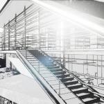 Escalier extérieur avec effet visuel Daegu Gosan Public Library avec Edificius