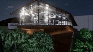 Vue nocturne avec effet visuel Daegu Gosan Public Library avec Edificius