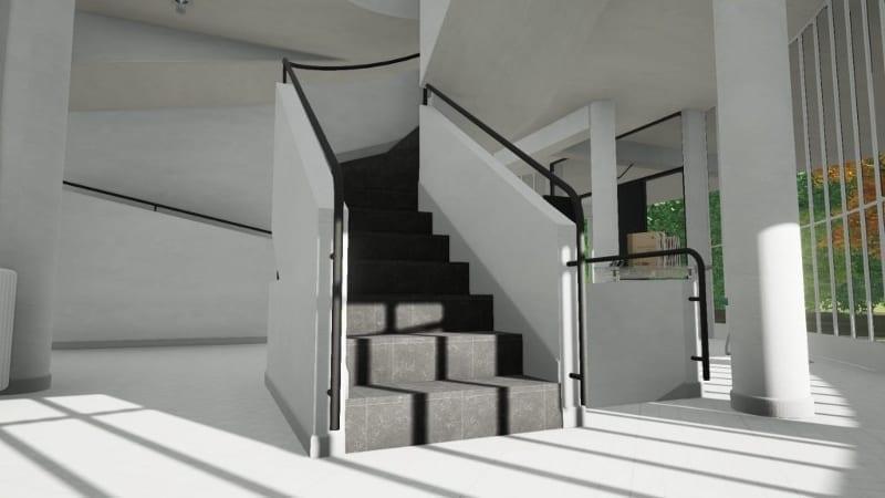 escalier interieur villa savoye edificius bim software biblus. Black Bedroom Furniture Sets. Home Design Ideas