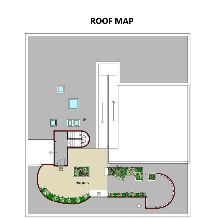 Plan couverture terrasse Villa Savoye