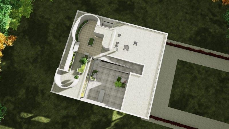 Toit jardin Villa Savoye BIM Edificius