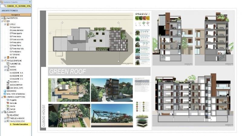 Plan d'éxécution Cuboid-House logiciel BIM Edificius