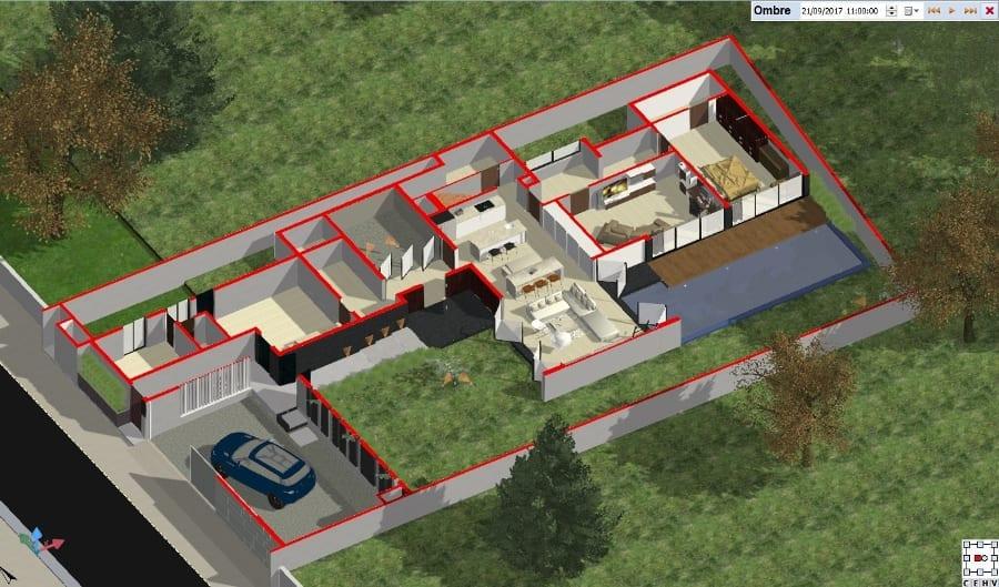 Plan Rez de chaussée - coupe-axonometrique - logiciel BIM - Edificius