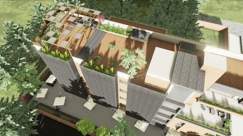 Vue du haut toit Cuboid House logiciel BIM Edificius