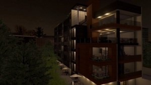 Vue-nocturne-facade-de-Cuboid-House-Rendu-logiciel-BIM-Edificius