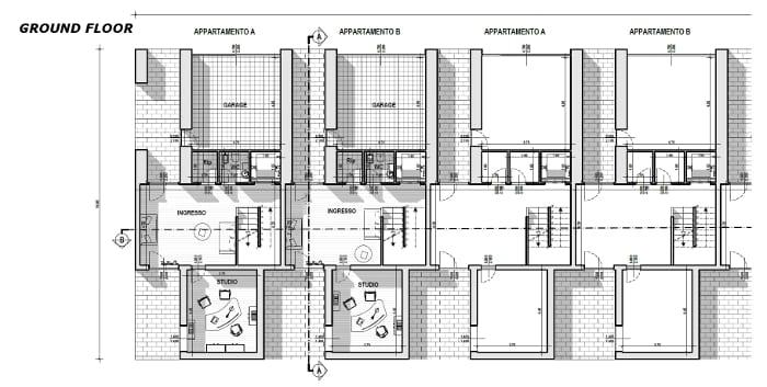 Maisons mitoyennes célèbres: exemple du plan de M. Botta - Rez de Chaussée - Aperçu DWG