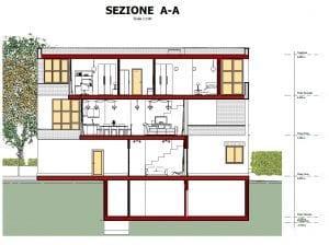 Maisons mitoyennes -Botta - Apercu DWG -coupe-A-A - 300x224