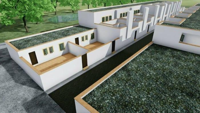 Maisons mitoyennes à Malagueira - détail de la modélisation - logiciel BIM Edificius