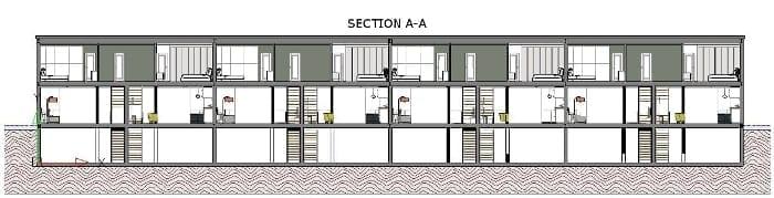Maisons mitoyennes Lafayette Park - Coupe A-A obtenue avec le logiciel BIM d'architecture Edificius
