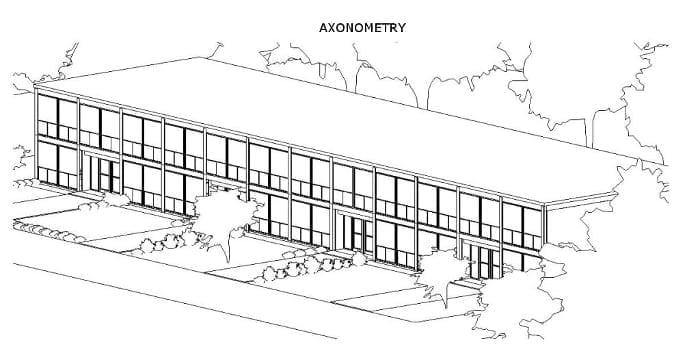 Maisons mitoyennes Lafayette Park - module axonometrie obtenu avec le logiciel BIM d'architecture Edificius