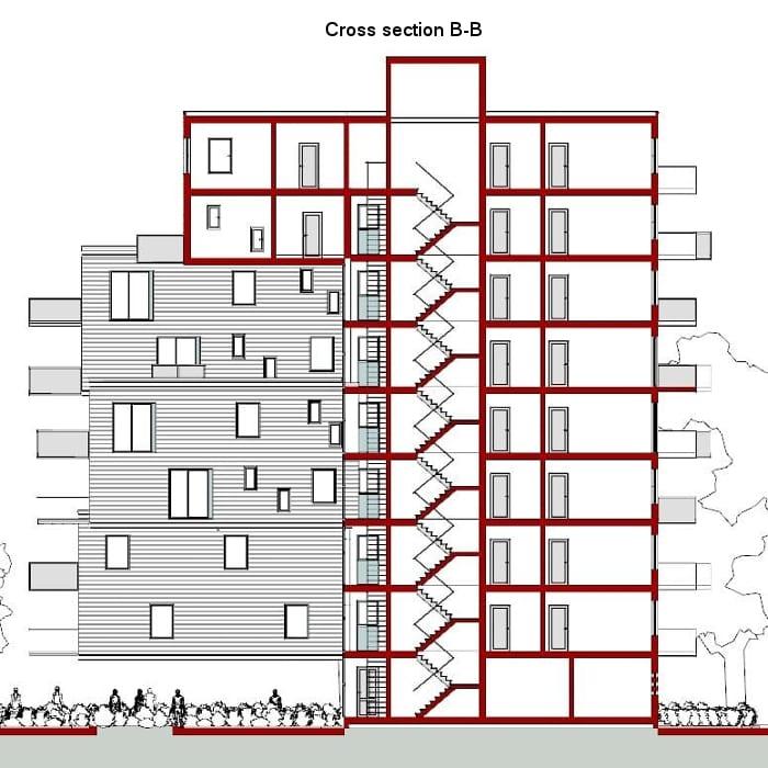 Coupe B-B - WoZoCo's Apartments - logiciel BIM Edificius