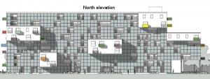 Elévation nord WoZoCo's Apartments - logiciel BIM Edificius
