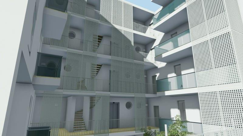 Exemple de conception moderne de logement social réalisé à Lecce rendu produit avec Edificius