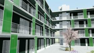 Exemple de conception moderne de logement social réalisé à Lleida - rendu produit avec Edificius
