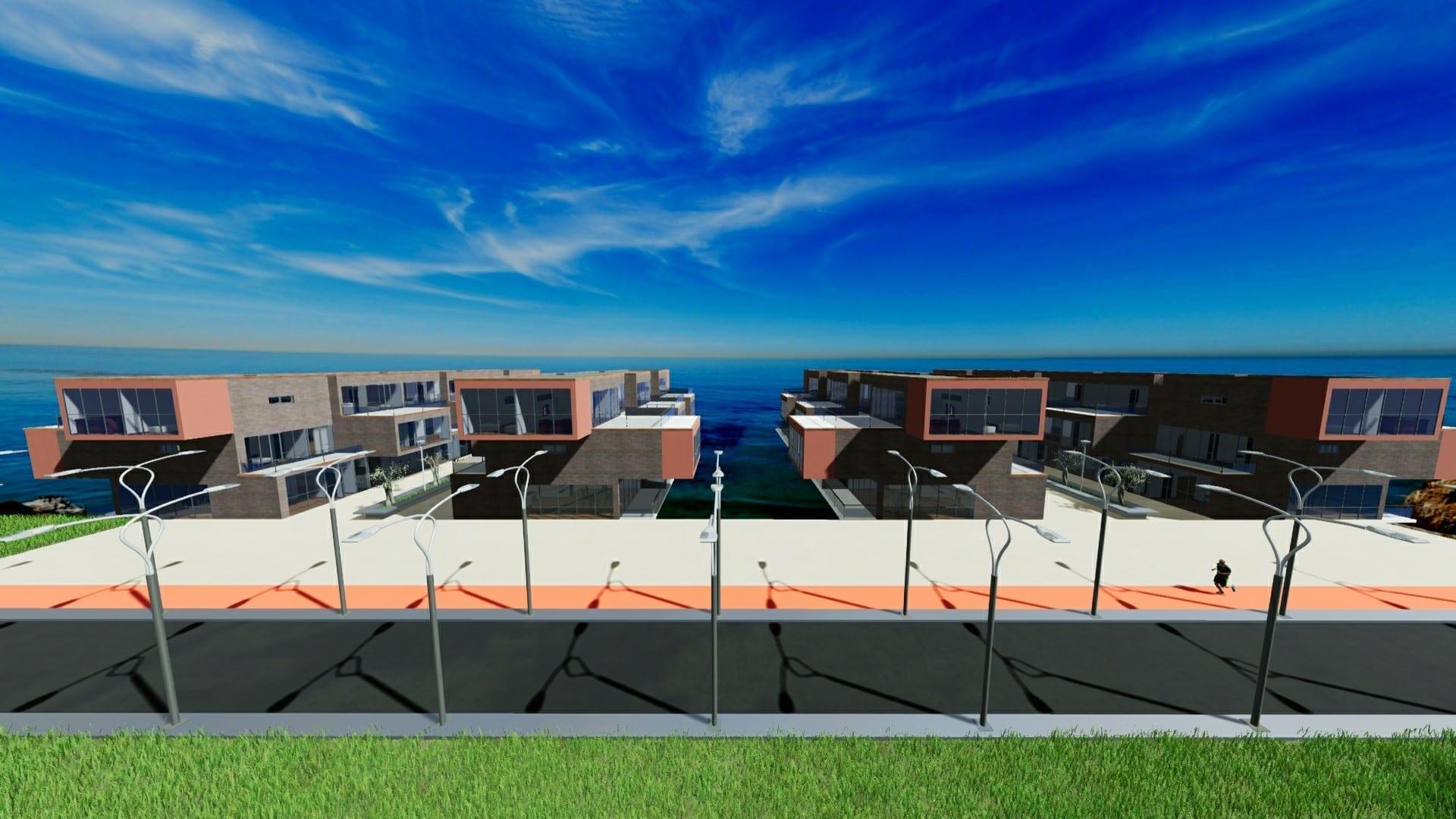 L'organisation des blocs de Water Villas: Rendu realisé avec Edificius