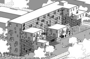 Logement social WoZoCo's Apartments - axonometrie-antérieure