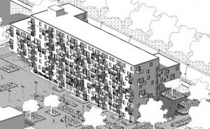 Logement social WoZoCo's Apartments - axonometrie postérieure