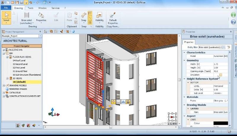 Propriétés de l'objet brise-solei avec le logiciel BIM d'architecture Edificius