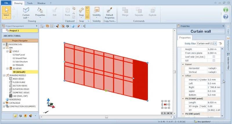 Saisie des propriétés du mur rideau - logiciel BIM Edificius