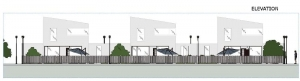 Projet 'A' - maisons mitoyennes avec patio ou jardin - élévation