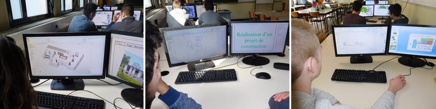 Durant des activités pratiques des étudiants du lycée de Cambrai STI2D