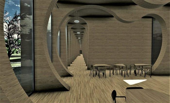 Corridor de l'école maternelle La Balena -Rendu projets bâtiment écoles BIM architectures Edificius