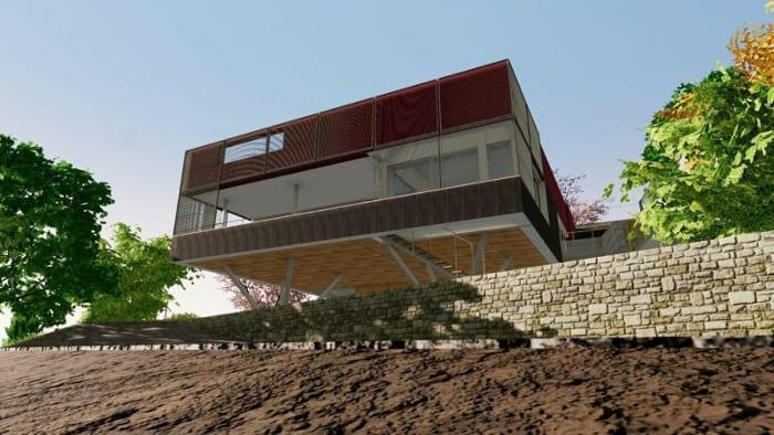 Projets de maisons unifamiliales : projet B - rendu - logiciel BIM Edificius