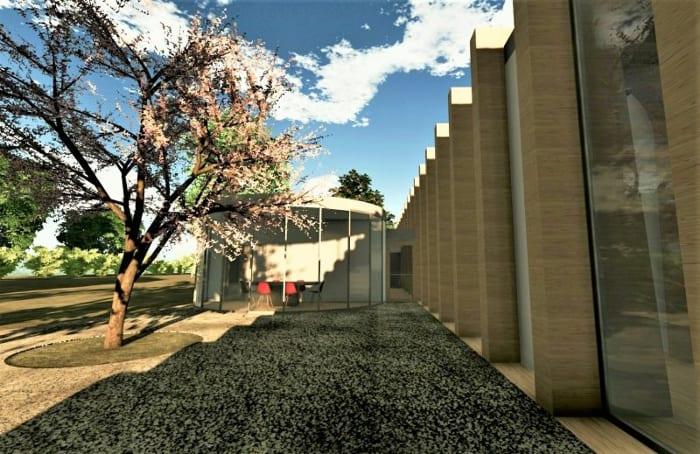 Salle extérieure de la crèche La Balena-Rendu bâtiments d'écoles - logiciel BIM architecture Edificius