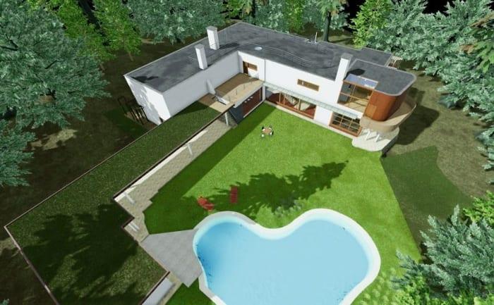 Vue aéerienne - rendu avec piscine- logiciel BIM Edificius