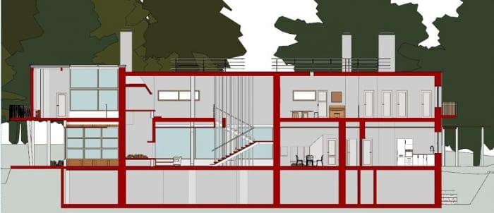 Villa Mairea : Coupe A-A produite par le logiciel BIM Edificius