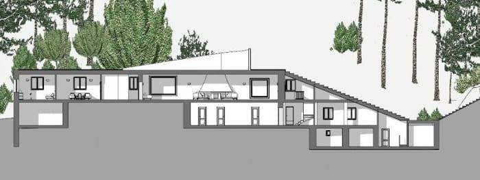 Villa Malaparte - coupe A-A - logiciel BIM d'architecture - Edificius