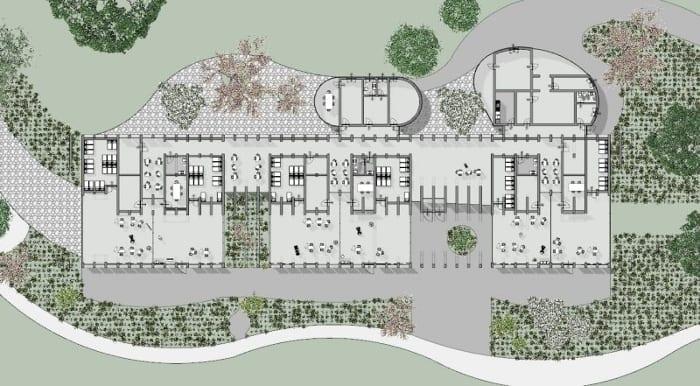Plan du rez-de-chaussée - projets bâtiment écoles -logiciel BIM architecture Edificius