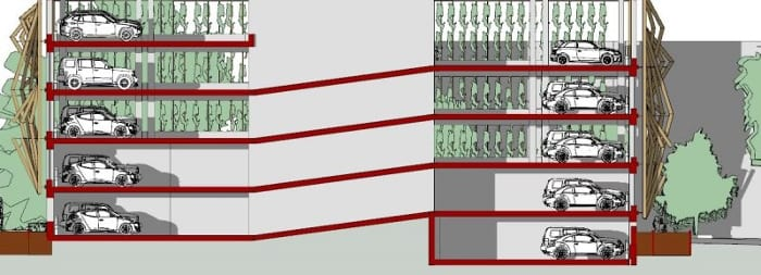 Coupe A-A-Conception-parking-DWG_logiciel-BIM-architecture-Edificius