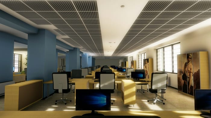 Faux-plafond grillage et rendu de l'intérieur du bureau - Edificius -logiciel BIM