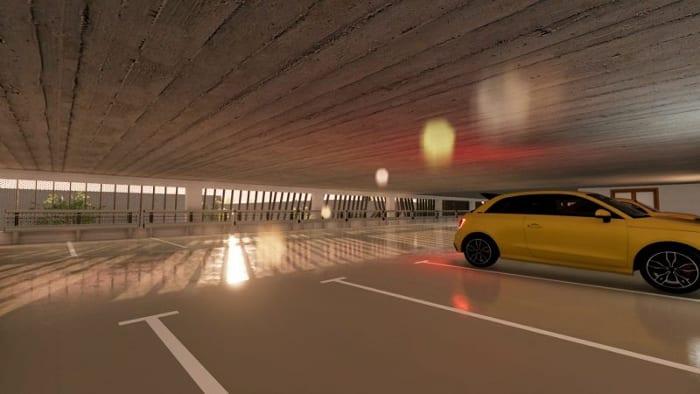 Parking - Les yeux verts - Rendu des étages intérieur - logiciel BIM architecture Edificius