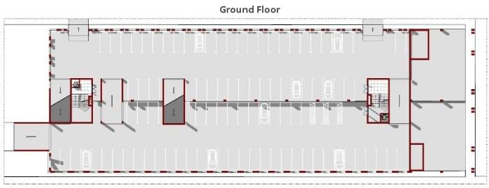 Plan rez-de-chaussée: conception de place de stationnement - logiciel BIM architecture Edificius