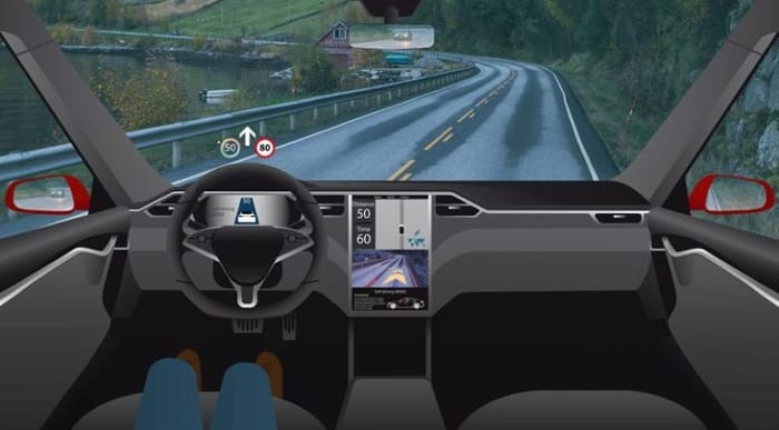 Tesla: numérique et conduite sur route -simulation