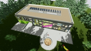 Vue aérienne - projets de batiments scolaires - Troplo Kids - rendu du logiciel Edificius