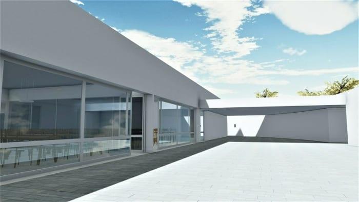 Conception centre pur l'enfance - grande vitre - extérieur - rendu-Edificius
