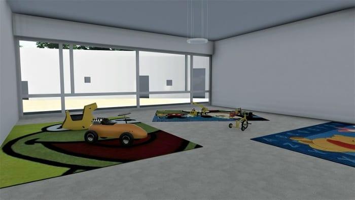 Conception du centre pour enfance - salle de jeux - rendu -Edificius