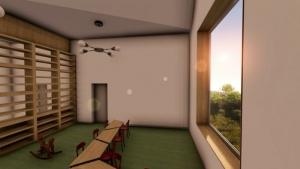 Crèche Raa : salle de classe avec fenêtre -rendu issu du logiciel Edificius