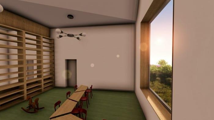 Crèche Raa:salle de classe avec fenêtre -rendu issu du logiciel Edificius