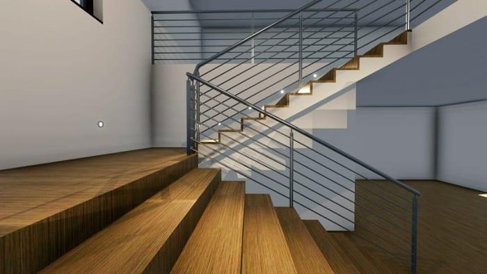 Conception de l'escalier: interieur rendu issu du logiciel BIM architecture Edificius