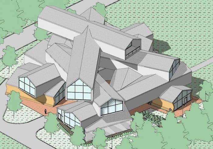 Conception du musée VitraHaus axonométrie - logiciel BIM d'architecture Edificius