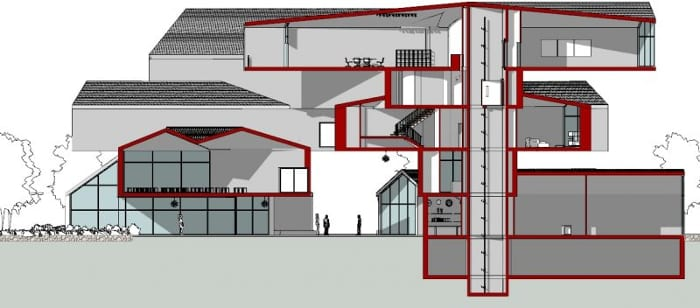 Conception du musée VitraHaus - coupe D-D - logiciel BIM d'architecture Edificius