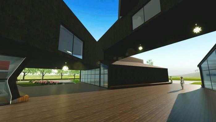 Conception du musée VitraHaus - le rendu de la place - logiciel BIM d'architecture Edificius