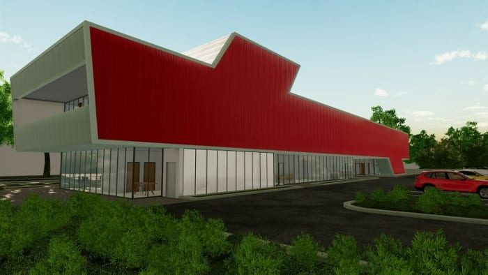 Clinique Harvey Pédiatrie - Parking et Façade - Rendu d'Edificius - logiciel BIM d'architecture