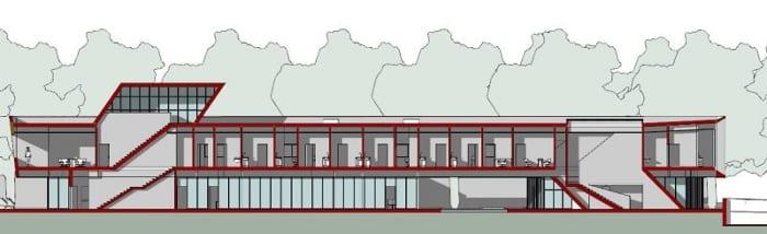 Harvey Pédiatrie - Clinique - coupe B-B issu de Edificius -logiciel BIM pour l'architecture
